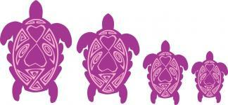 Purple and Pink Turtle Family Stickers