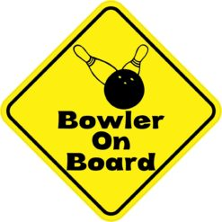 Yellow and Black Bowler On Board Sticker