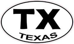 Oval TX Texas Sticker