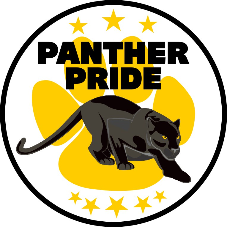 Yellow Paw Print Panther Pride Sticker