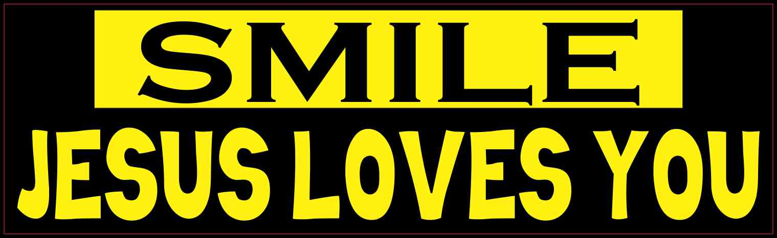 10in x 3in Yellow and Black Smile Jesus Loves You Bumper Sticker ...