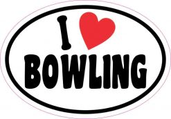 Oval I Love Bowling Sticker