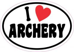 Oval I Love Archery Sticker