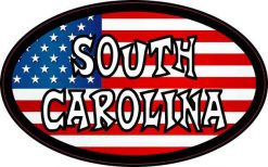 Oval American Flag South Carolina Sticker