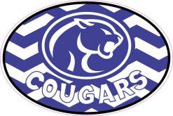 Chevron Oval Cougars Mascot Vinyl Sticker