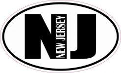 Oval NJ New Jersey Vinyl Sticker
