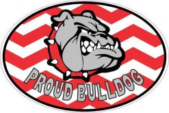 Chevron Proud Bulldog Vinyl Sticker