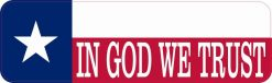 Texas Flag in God We Trust Vinyl Sticker