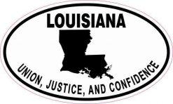Oval Louisiana Motto Vinyl Sticker