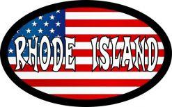 Oval US Flag Rhode Island Vinyl Sticker