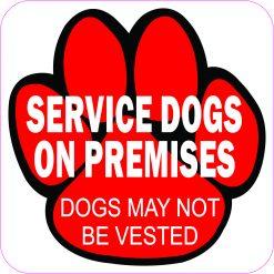 Service Dogs on Premises Magnet