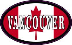 Oval Canadian Flag Vancouver Vinyl Sticker