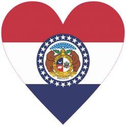 Heart Shaped Missouri Flag Vinyl Sticker