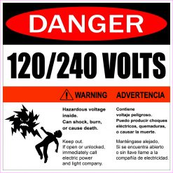 Hazardous Voltage 120/240 Volts Vinyl Sticker