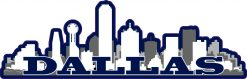 Navy Dallas Skyline Vinyl Sticker