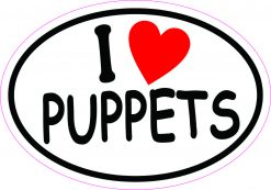 Oval I Love Puppets Vinyl Sticker