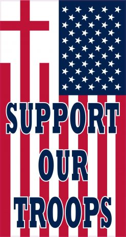 Cross US Flag Support Our Troops Magnet