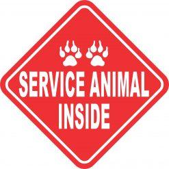 Red and White Service Animal Inside Vinyl Sticker