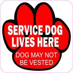 Service Dog Lives Here Vinyl Sticker