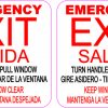 English and Spanish Pull Emergency Exit Vinyl Stickers