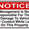 Management Not Responsible for Theft or Damage Magnet