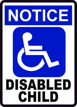 Notice Disabled Child Vinyl Sticker