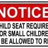 Notice Child Seat Required Vinyl Sticker
