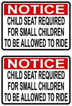 Child Seat Required Vinyl Stickers