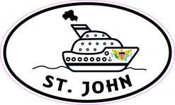 Cruise Ship Oval St John Vinyl Sticker