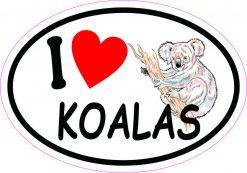 Oval I Love Koalas Vinyl Sticker