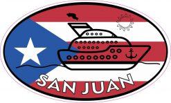 Cruise Ship Oval San Juan Vinyl Sticker