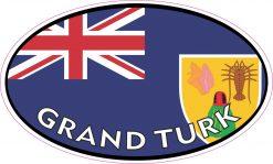 Flag Oval Grand Turk Vinyl Sticker