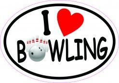 Oval I Love Bowling Vinyl Sticker