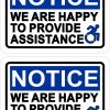 Dynamic Disability We Are Happy to Provide Assistance Vinyl Stickers
