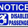 Dynamic Symbol Notice Disabled Passenger Vinyl Sticker