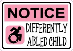 Pink Differently Abled Child Vinyl Sticker