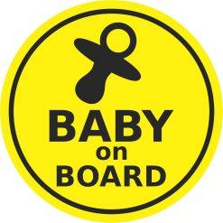 Round Pacifier Baby on Board Vinyl Sticker