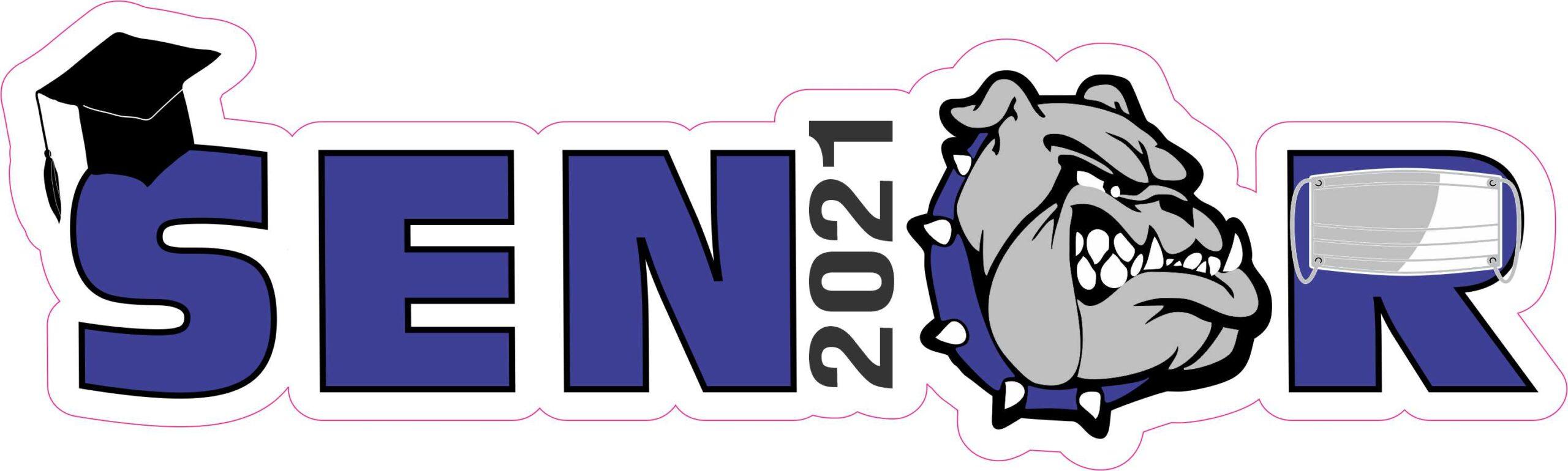 10in x 3in Blue Bulldog Senior 2021 Vinyl Sticker Car ...